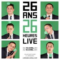 26 heures de live pour fêter ses 26 ans ! Rendez vous avec Loris Giuliano mercredi 15 avril à 21H, connectez vous